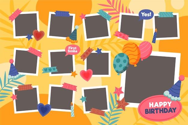 Ensemble de cadre de collage plat anniversaire
