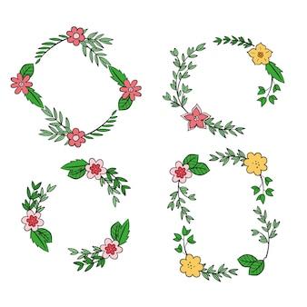 Ensemble de cadre élégant ornement floral