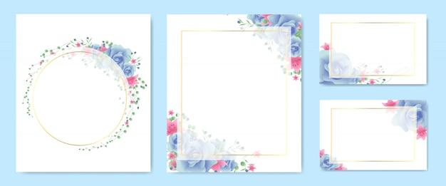Ensemble cadre floral et couronne