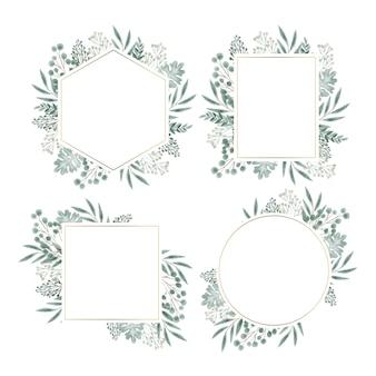 Ensemble de cadre floral dessiné à la main