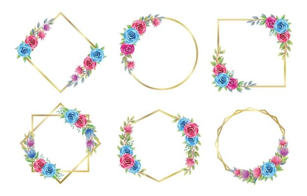 Ensemble de cadre floral doré avec aquarelle rose bleue