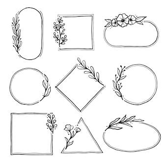 Ensemble de cadre floral géométrique, bordure avec feuilles, couronnes, éléments floraux. croquis dessiné à la main