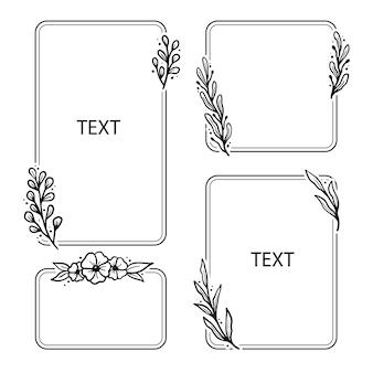 Ensemble de cadre floral géométrique, bordure avec feuilles, couronnes, éléments floraux. dessiné à la main