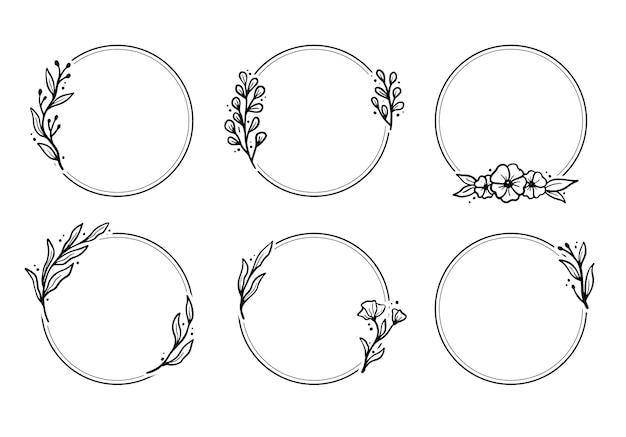 Ensemble de cadre floral géométrique, bordure avec feuilles, couronnes, éléments floraux.