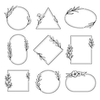 Ensemble de cadre floral géométrique dessiné à la main