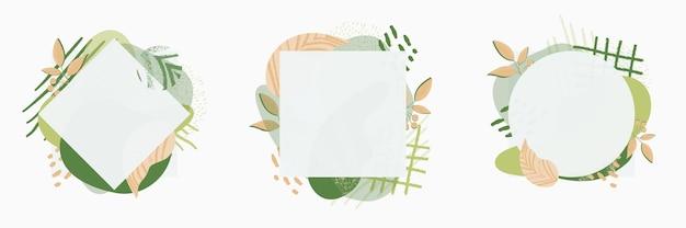 Ensemble de cadre floral magnifique collage abstrait