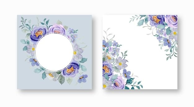Ensemble de cadre floral violet avec aquarelle