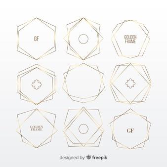 Ensemble cadre géométrique doré