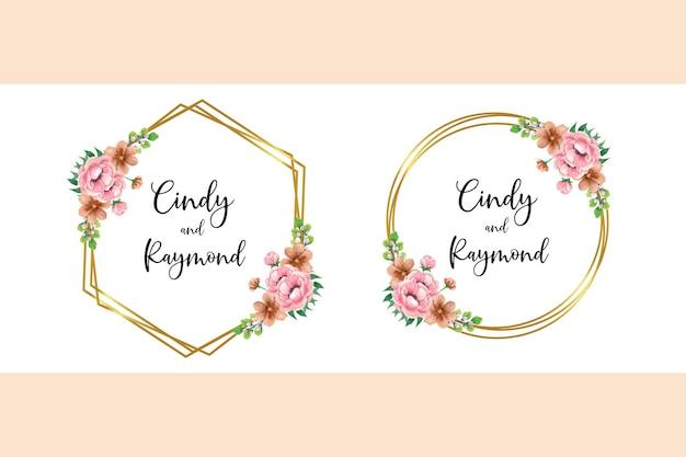 Ensemble de cadre d'invitation de mariage, conception de fleur de pivoine aquarelle floral dessiné à la main