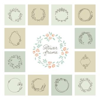 Ensemble de cadre magnifique couronne florale décorative
