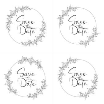 Ensemble de cadre de mariage floral minimal de style cercle et monogramme de mariage