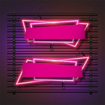 Ensemble de cadre néon abstrait rose