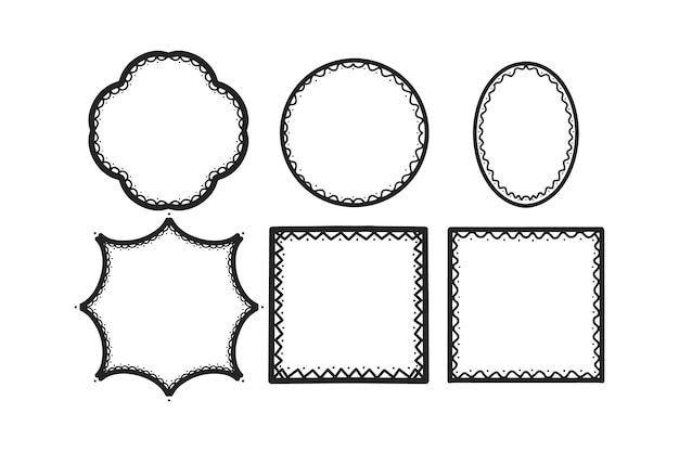 Ensemble de cadre ornemental élégant dessiné à la main