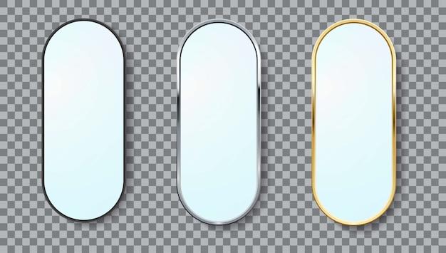 Ensemble de cadre ovale de miroirs réalistes de différentes couleurs isolées.