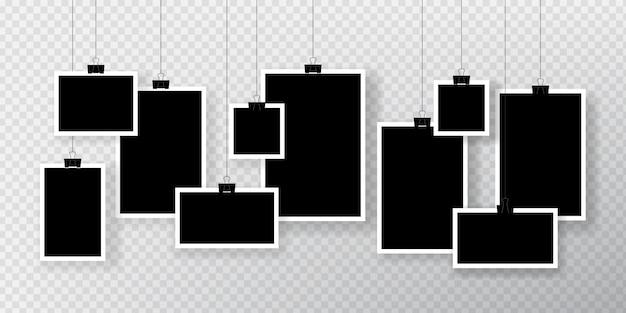 Ensemble de cadre photo blanc suspendu à un clip.
