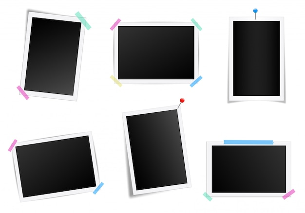 Ensemble de cadre photo carré avec des ombres.