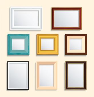Ensemble de cadre photo isolé sur le mur