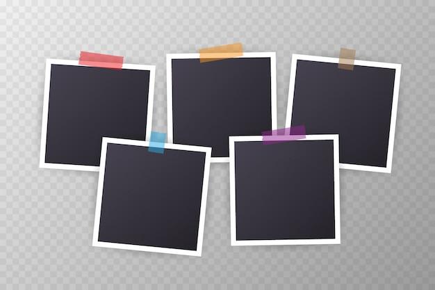 Ensemble de cadre photo vintage avec du ruban adhésif style vintage avec des rubans adhésifs
