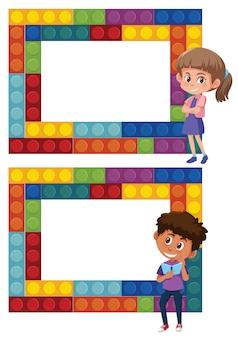 Un ensemble de cadre de puzzle garçon et fille