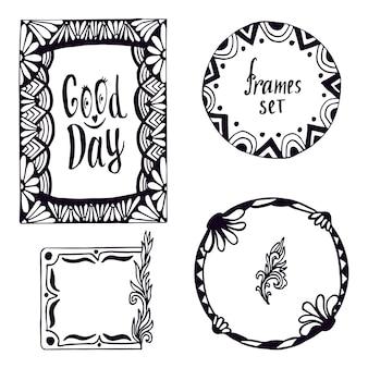 Ensemble de cadre tribal. éléments de conception doodle dessinés à la main avec lettrage bonne journée. décoration de vecteur.