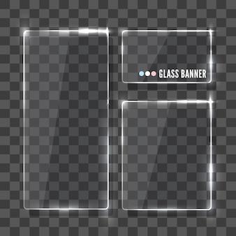 Ensemble de cadre en verre brillant rectangles. réaliste.
