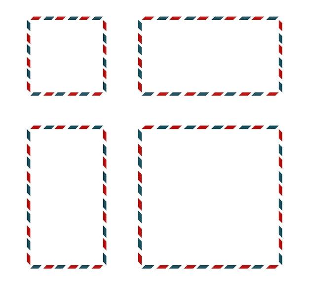 Ensemble de cadres d'affranchissement. contexte postal. illustration vectorielle