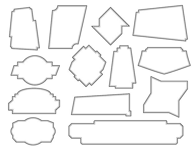 Ensemble de cadres asymétriques. cadre linéaire noir vintage sur fond blanc. éléments pour la décoration de texte et de menu. icônes de dialogue. illustration vectorielle.