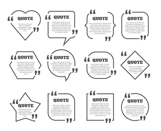 Ensemble de cadres de boîte de devis. modèle de conception de cadre de zone de texte. commentaire vectoriel, bordures de message.