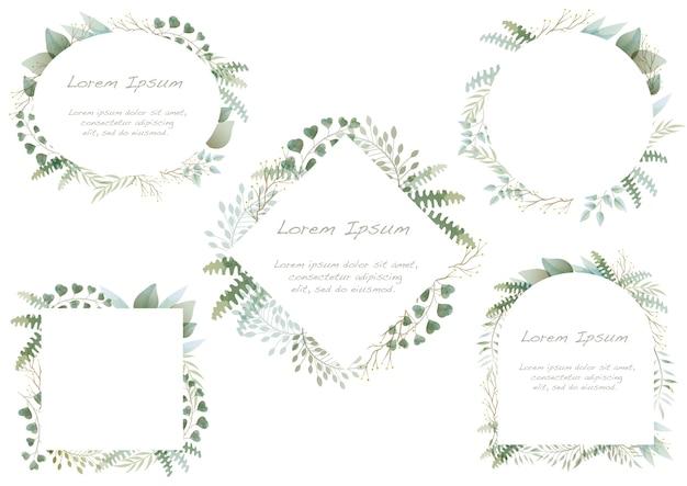 Ensemble de cadres botaniques aquarelle isolé sur un blanc