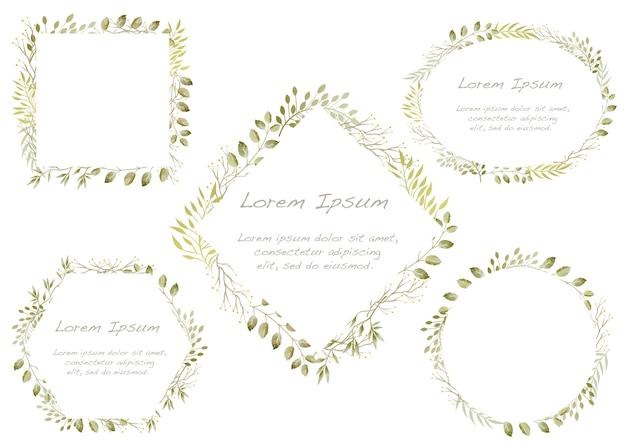 Ensemble de cadres botaniques aquarelle isolé sur fond blanc.
