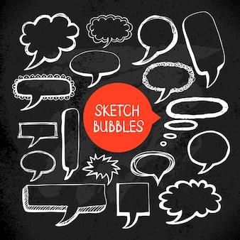 Ensemble de cadres de bulles de doodle croquis dessinés à la main. illustration vectorielle. conception de tableau