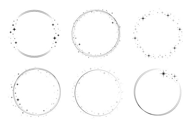 Ensemble de cadres de cercle d'étoiles scintillantes. bordure de poussière d'étoile d'anneau de couronne pour la fête, conception de décor d'anniversaire. cadre de laurier avec éclat de paillettes cosmique. illustration vectorielle plane noire isolée.