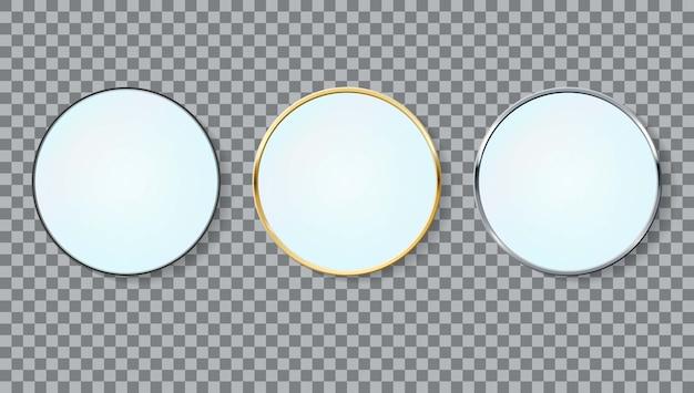 Ensemble de cadres de cercle de miroirs réalistes de différentes couleurs isolées.