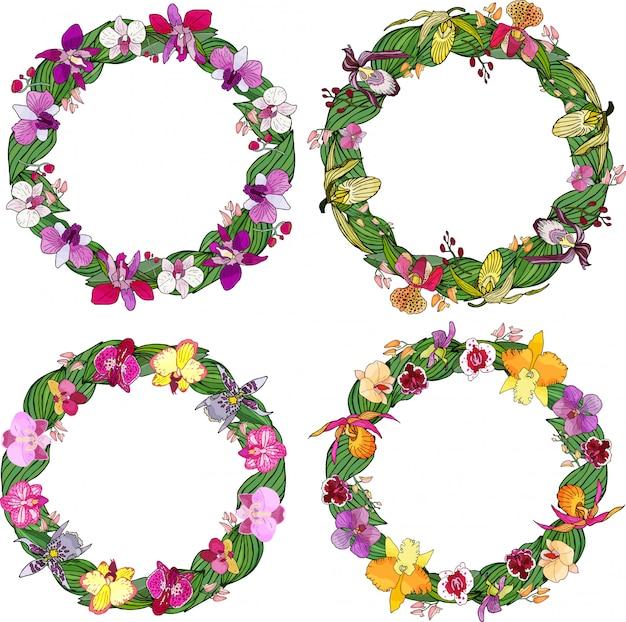 Ensemble de cadres de cercle d'orchidées et d'éléments floraux.