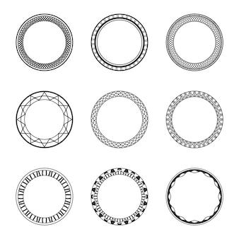 Ensemble de cadres circulaires vintage noirs avec ornement