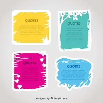 Ensemble de cadres colorés pour des citations