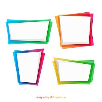 Ensemble de cadres en couleurs dégradées