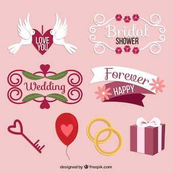 Ensemble de cadres décoratifs et éléments de mariage