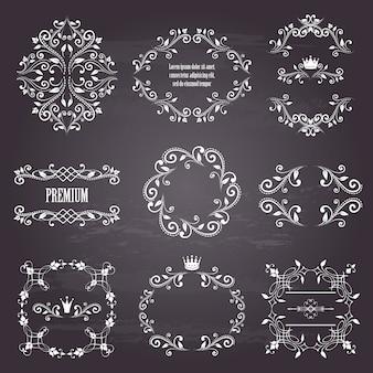 Ensemble de cadres décoratifs de style rétro blanc