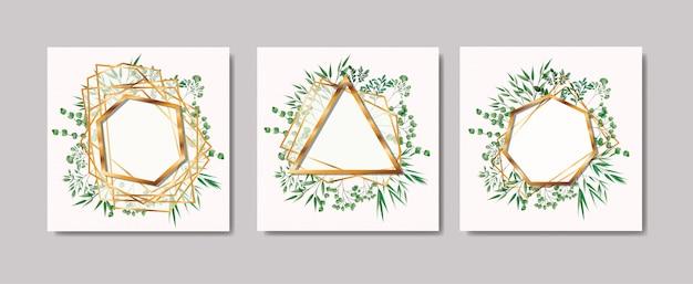Ensemble de cadres dorés et couronne de feuilles