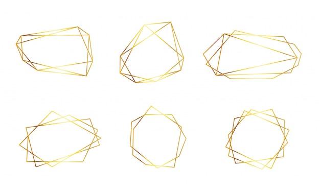 Ensemble de cadres dorés de luxe. collection de formes polygonales linéaires isolées