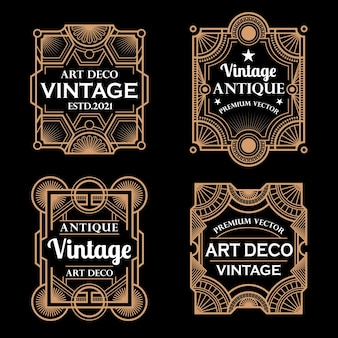 Ensemble de cadres et étiquettes art déco vintage vector