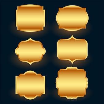 Ensemble de cadres d'étiquettes dorées de qualité supérieure