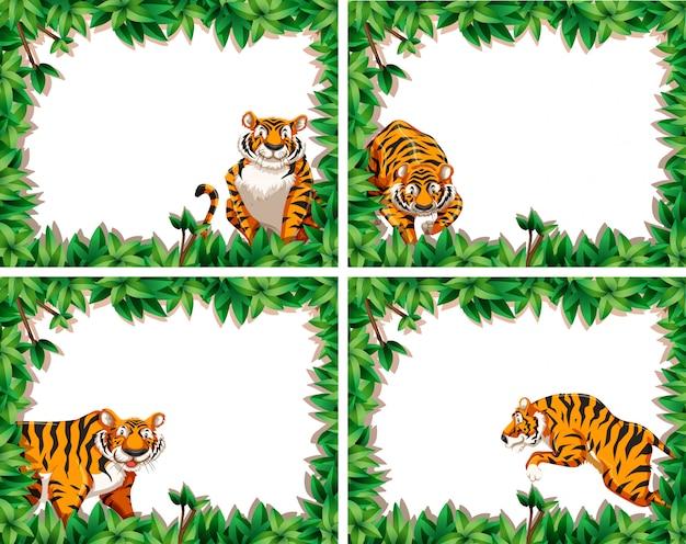 Ensemble de cadres de feuilles de tigre