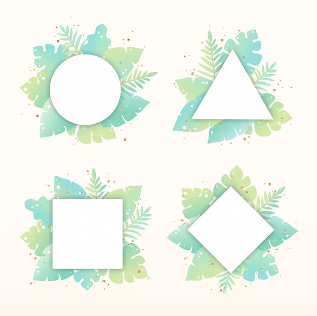 Ensemble de cadres de feuilles tropicales dessinés à la main