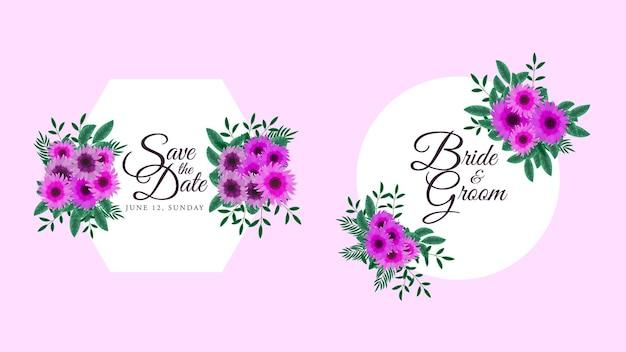 Ensemble de cadres de fleurs d'éléments floraux pour cartes de voeux, invitations de mariage, etc.