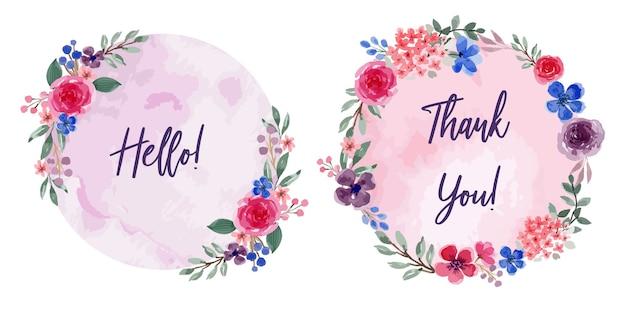 Ensemble de cadres floraux aquarelle thème violet