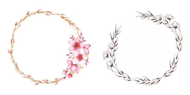 Ensemble de cadres floraux aquarelles