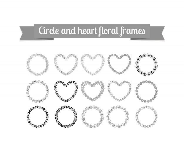 Ensemble de cadres floraux cercle et coeur