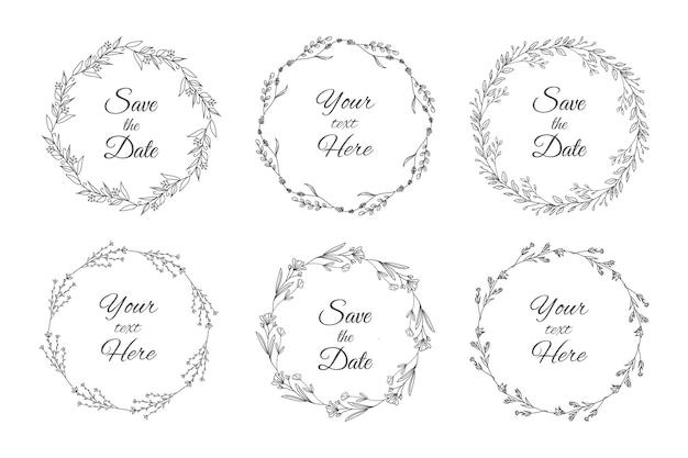 Ensemble de cadres floraux d'invitation de mariage